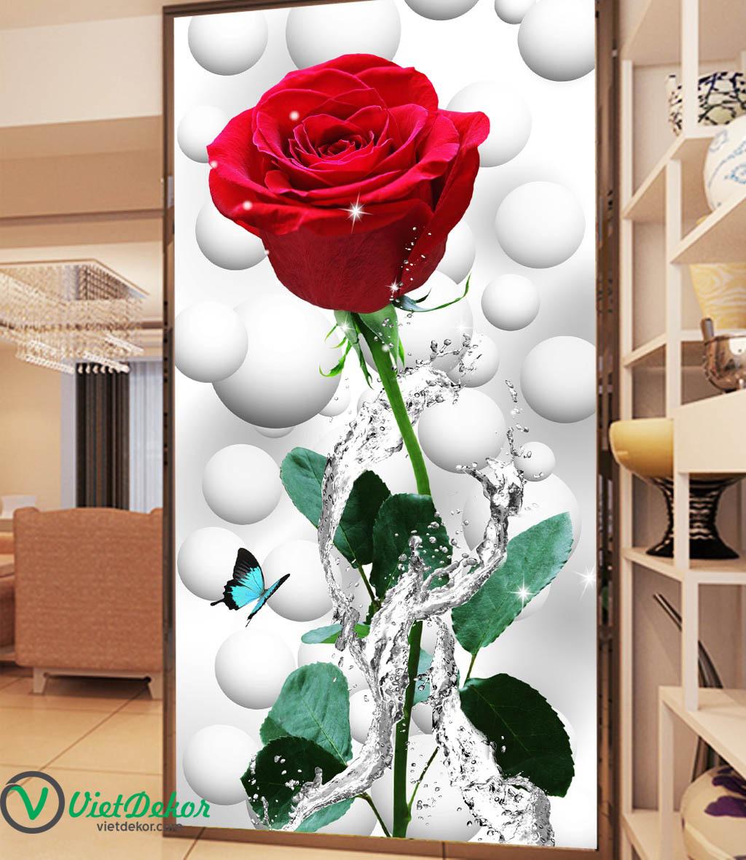 Tranh 3d khổ đứng hoa hồng đỏ
