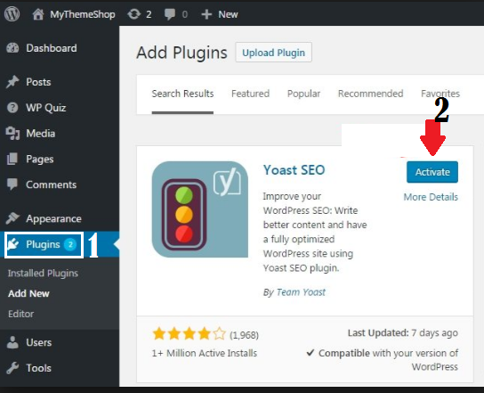 Activate Yoast plugin