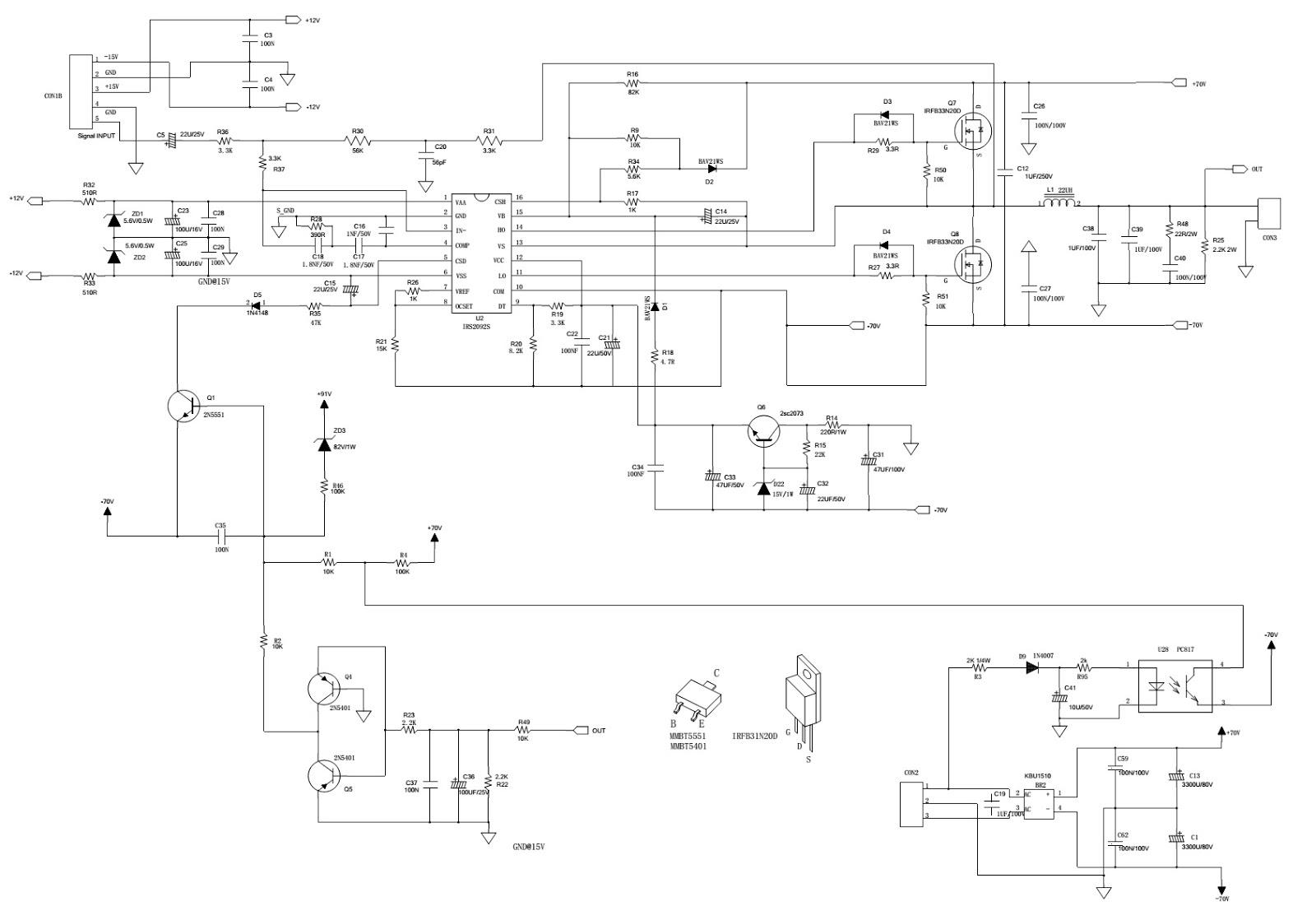 Tourcab 715d 700w class d lifier and pre lifier circuit