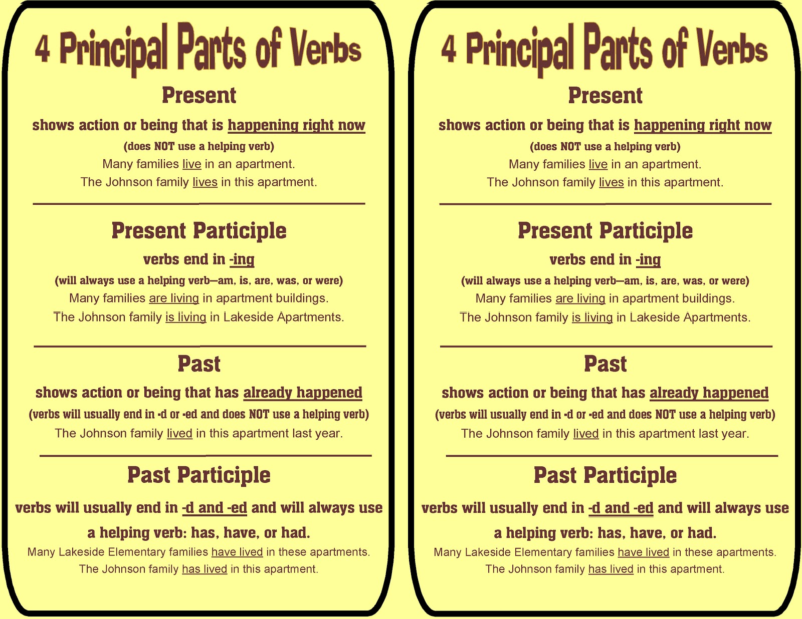 Principal Parts Of Irregular Verbs Worksheet Principal