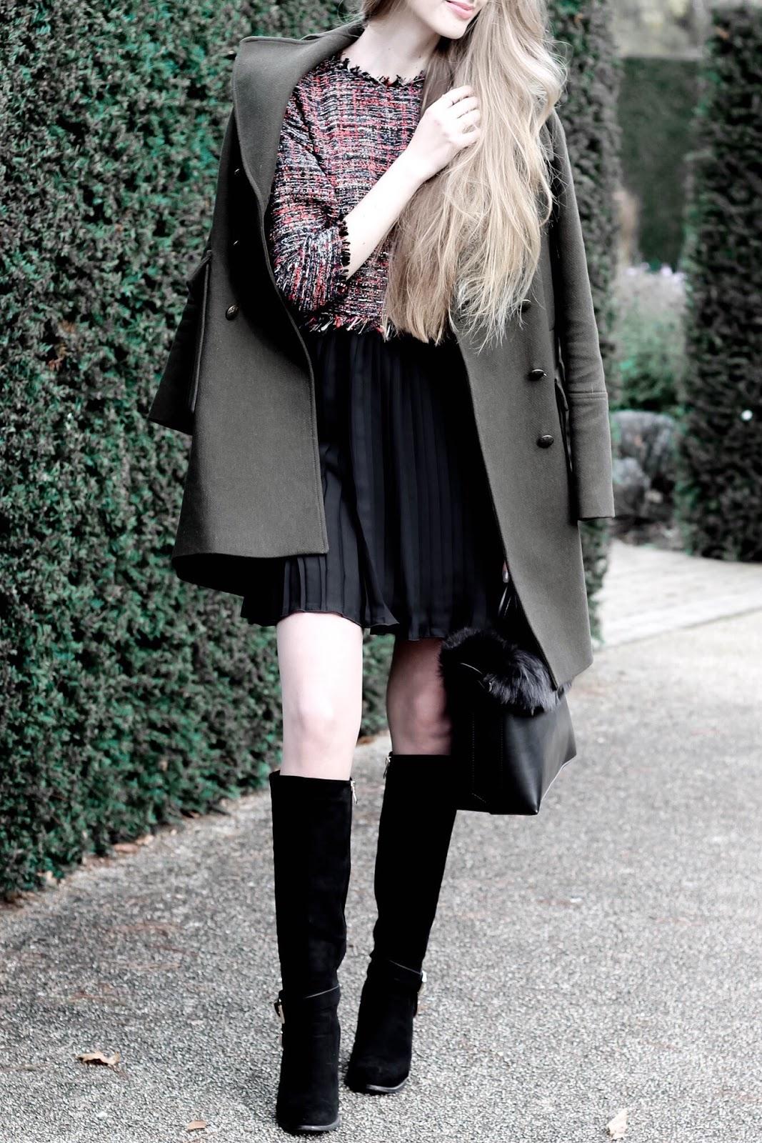 Zara tweed dress with pleated hem