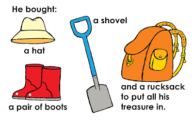 Illustration of a shovel, a hat, a pair of boots and a rucksack to put treasure in
