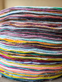 stack of circles ready for quilting