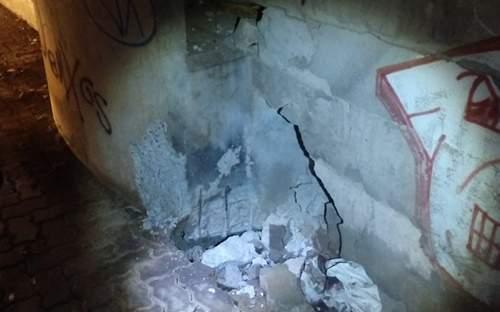 Criminosos tentam destruir viaduto da Parangaba na madrugada desta 5ª Feira