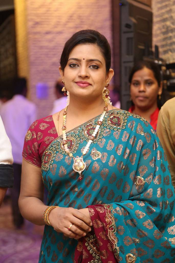 Tollywood Actress Indraja Stills In Blue Saree