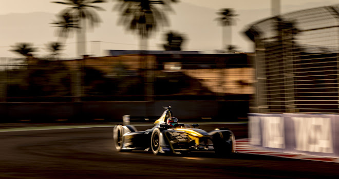 Marrakech ePrix at sunset