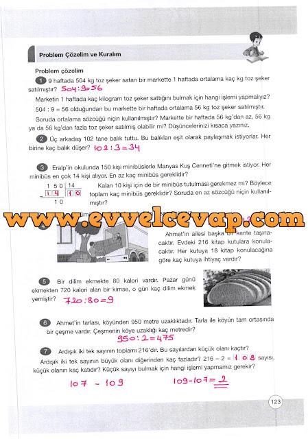 4. Sınıf Yakın Çağ Yayınları Matematik Ders Kitabı 123. Sayfa Cevapları Doğal Sayılarla Bölme İşlemi