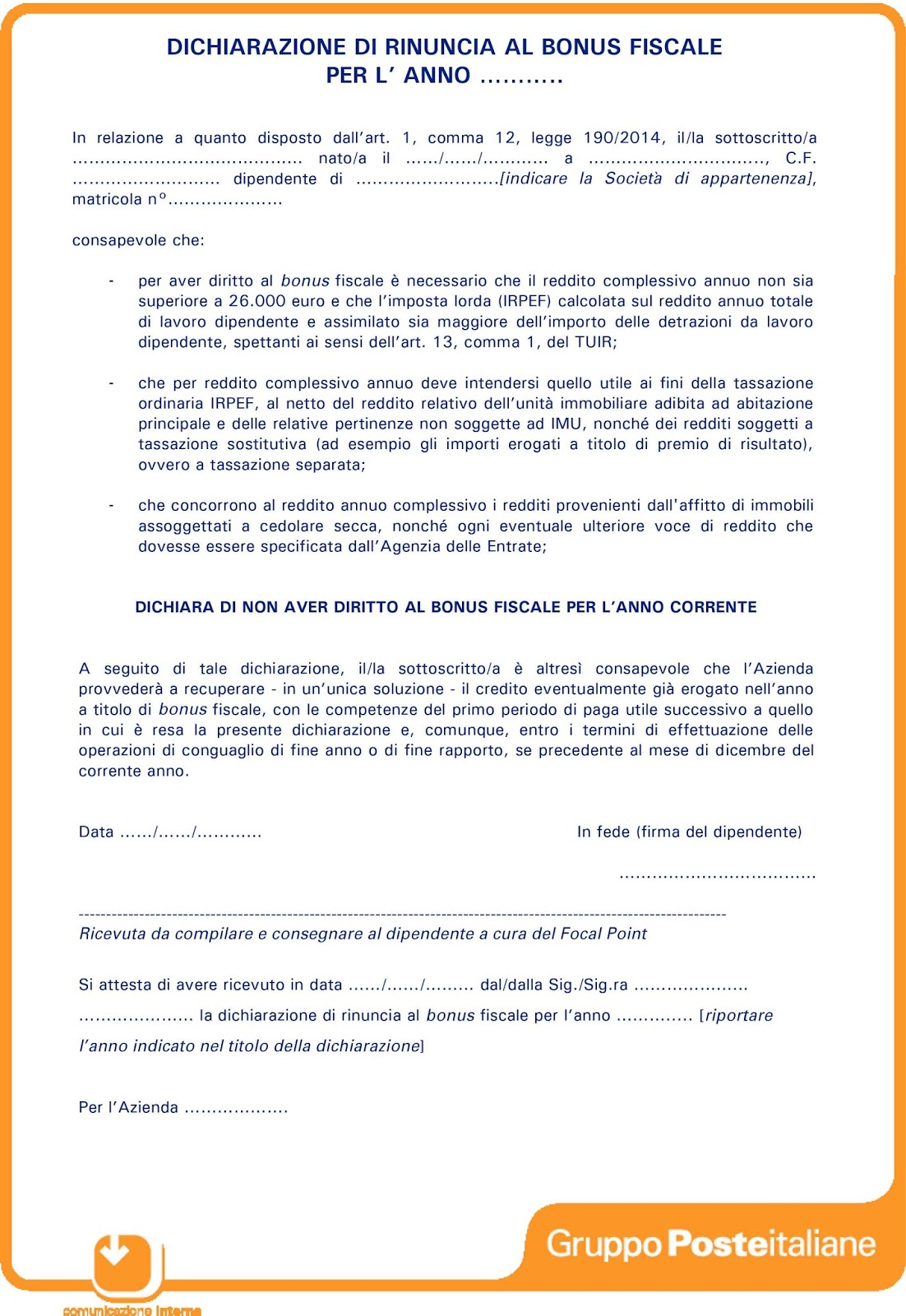 Recapito di roma comunicazione aziendale bonus fiscale for Bonus fiscale