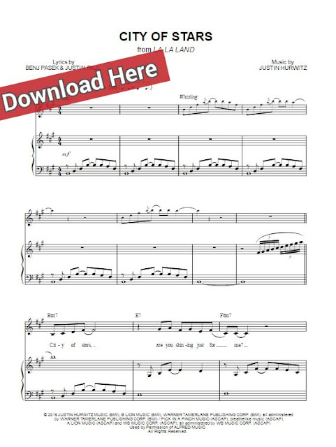 city of stars, la la land, sheet music, piano notes, chords, download, klavier noten, guitar, keyboard, voice, vocals