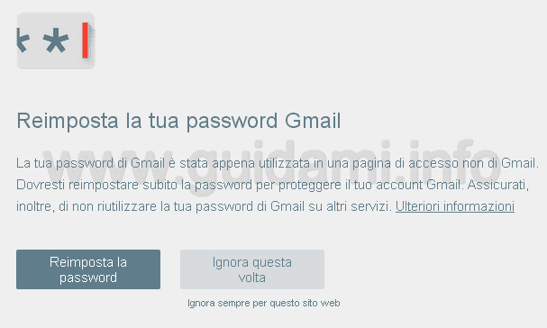 Notifica Password Alert estensione Google Chrome