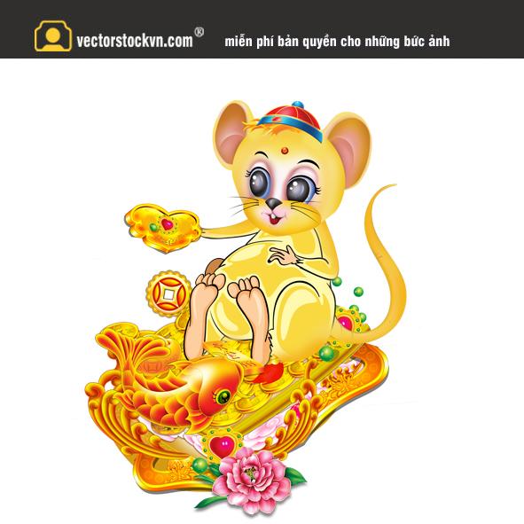 Vector con chuột ngồi trên đống vàng