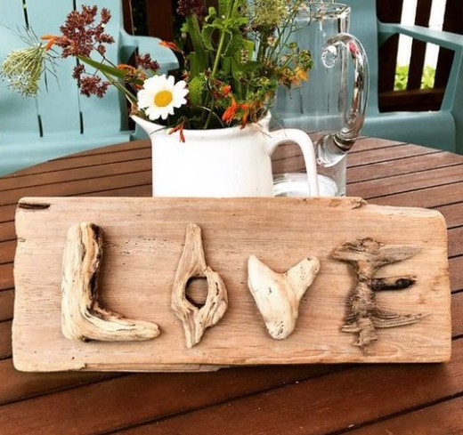 Driftwood Love Letters and Word Sign