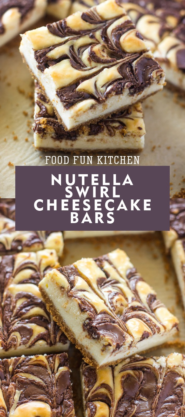 NUTELLA SWIRL CHEESECAKE BARS
