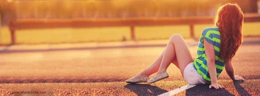 Beautiful girl sitting on Road Facebook Cover Photo is one of the coolest timeline banner photos for girls and their FB accounts plus other Social Profiles