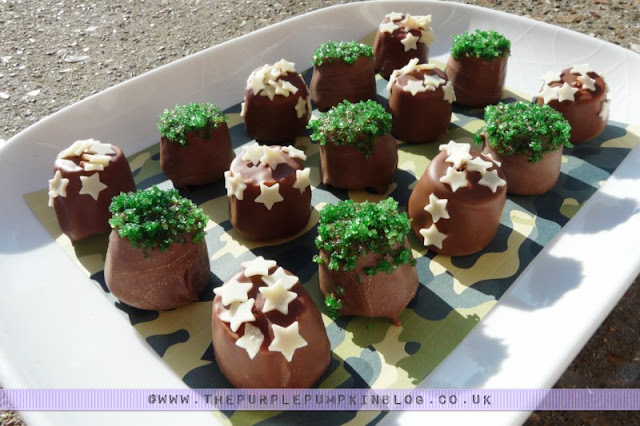 Bombs Away! Chocolate Covered Marshmallows for an #Army Themed #Party