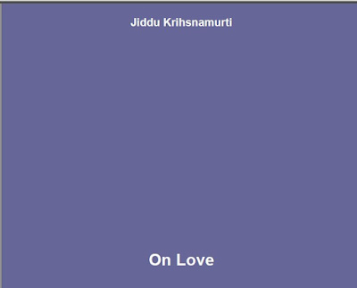 J.Krishnamurti on Love Download eBook in PDF