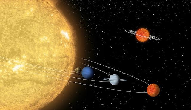 ilustrasi planet dan matahari yang ada di Tata Surya