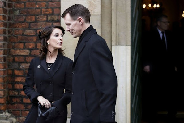 Queen Margrethe of Denmark and Prince Henrik, Prince Joachim and Princess Marie of Denmark attended the funeral service for Rev. Peter Parkov
