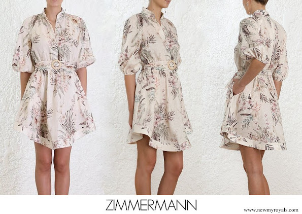 Princess Madeleine wore Zimmermann wayfarer summer linen floral shirt mini dress