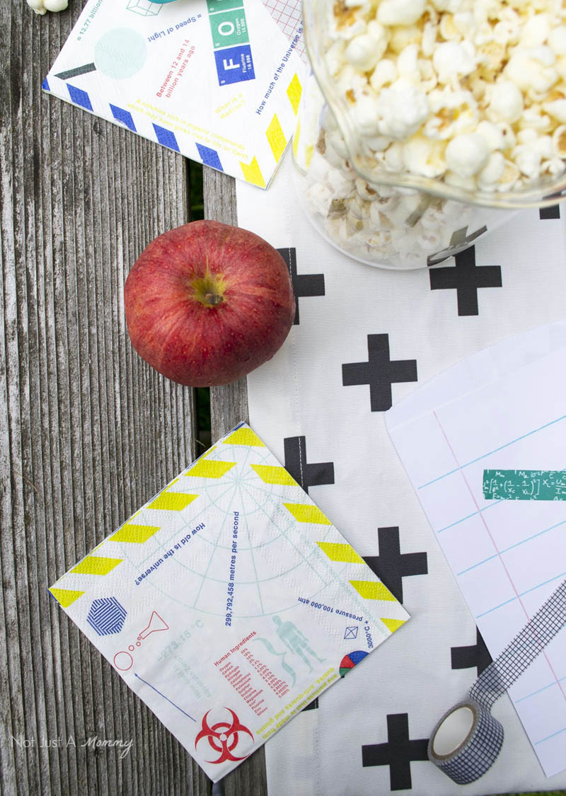 Not your typical must haves for your back to school party; napkins and grid paper straws