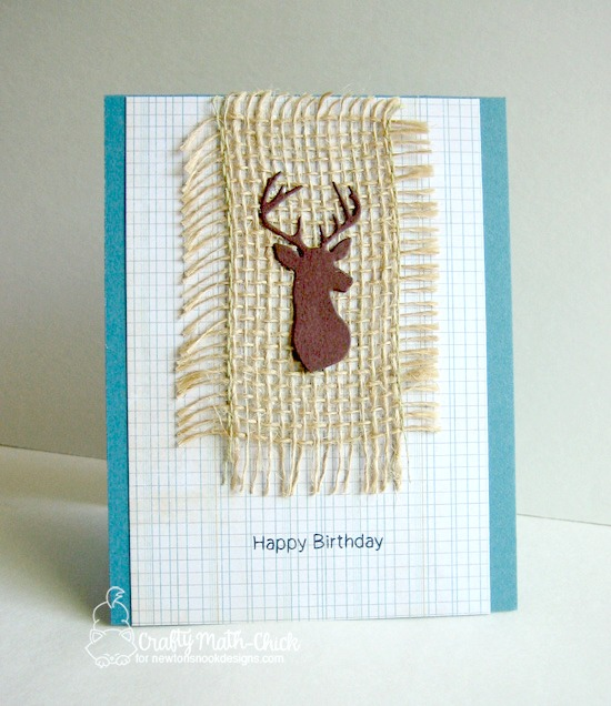 Masculine Deer Birthday card with  Burlap Card by Crafty Math-Chick | InkyPaws Challenge | Splendid Stags Die set by Newton's Nook Designs #newtonsnook