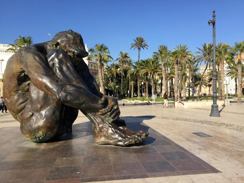 El Zulo - memorial statue to lives lost due to terrorism, in Cartagena's port