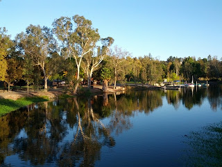 Vasona Lake, looking toward the boat dock in early morning light.