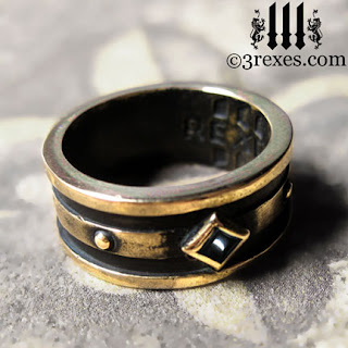 The Bronze Moorish Gothic 1 stone ring with magical black onyx stone.