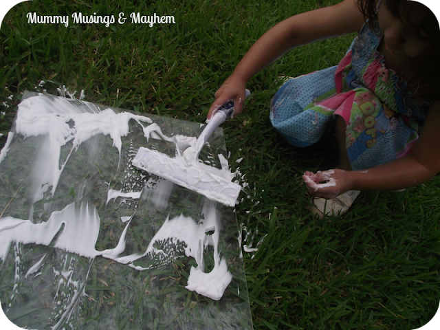 Shaving foam toddler fine motor