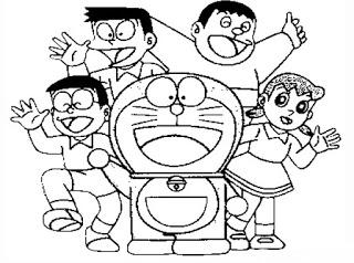 Sketsa Mewarnai Doraemon Dan Kawan Kawan