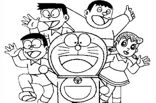 Gambar Mewarnai Doraemon Dan Nobita