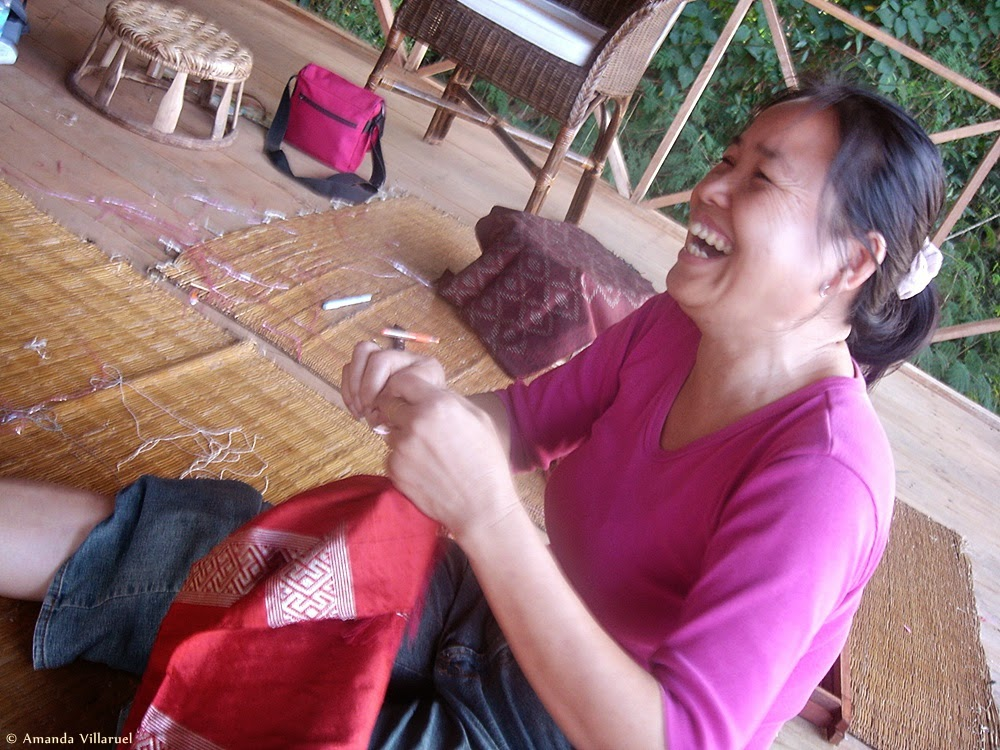 My teacher at Ock Pop Tok weaving center in Luang Prabang
