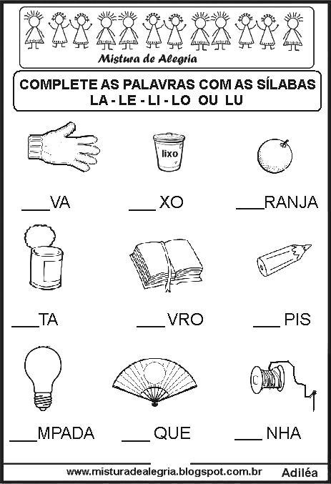Sequ ncia sil bica lacunada alfabetiza o para imprimir for J and b motors