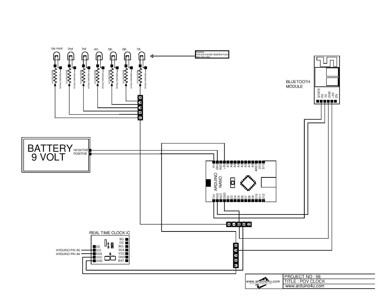 Projek Elektronik Arduino4u.com: 56.POV clock