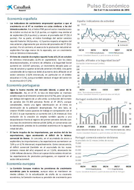 PULSO ECONOMICO CAIXABANK RESEARCH 12 NOVIEMBRE 2018