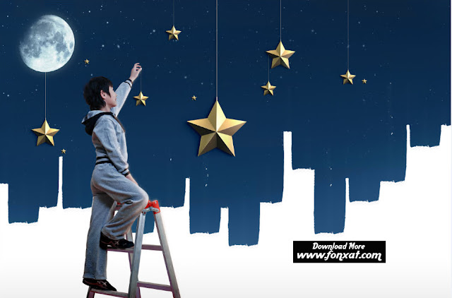 FREE PSD download : Children holding stars