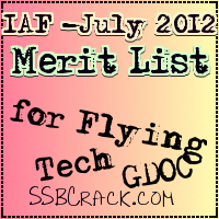 Airforce  Merit list for July 2012 Course