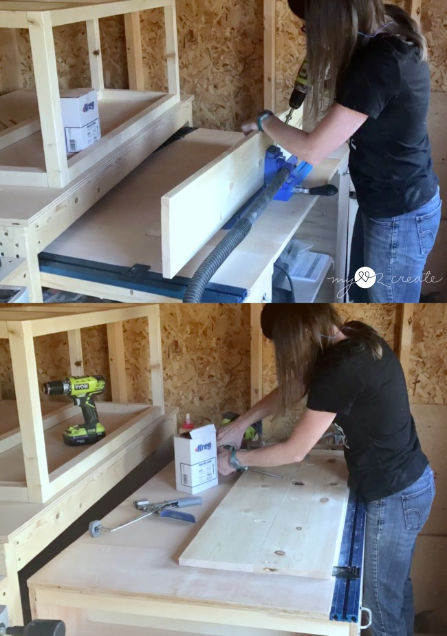 drilling pocket holes with a Kreg Jig K5 and attaching boards together with pocket hole screws