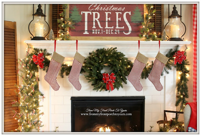 Farmhouse Christmas Mantel-Balsam Hill Wreath-Ticking Stripe Stockings- From My Front Porch To Yours