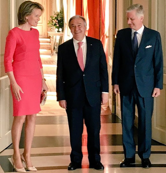 Queen Mathilde and King Philippe of Belgium welcomed UN Secretary General Antonio Guterres for a meeting and lunch at the Royal Castle in Laeken