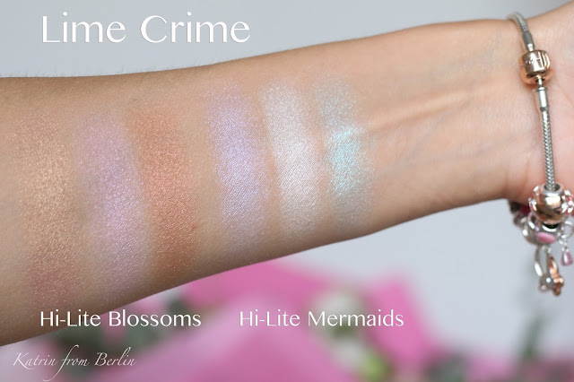 lime crime hi lite blossoms, mermaids highlighters