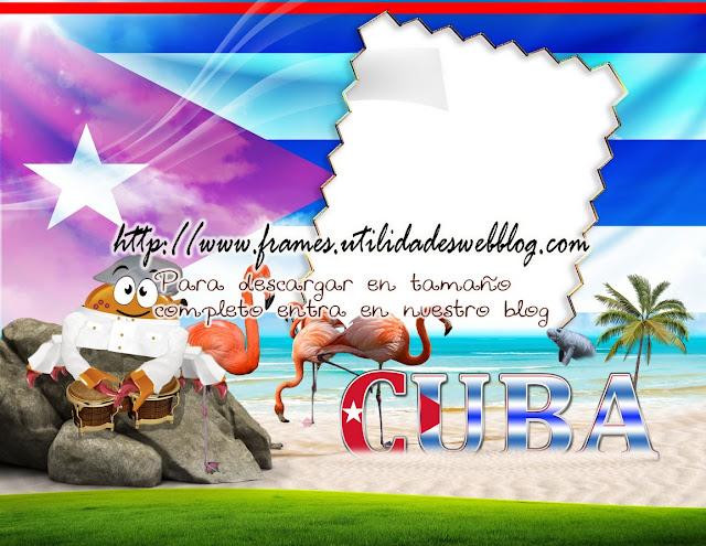 marco para fotos con bandera, animales elementos típicos de cuba