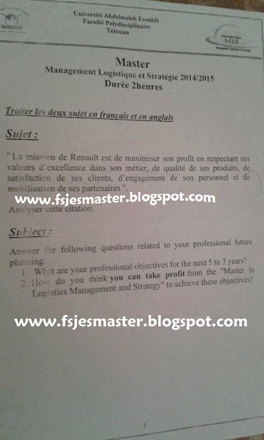Master Management Logistique et Stratégie 2014-2015