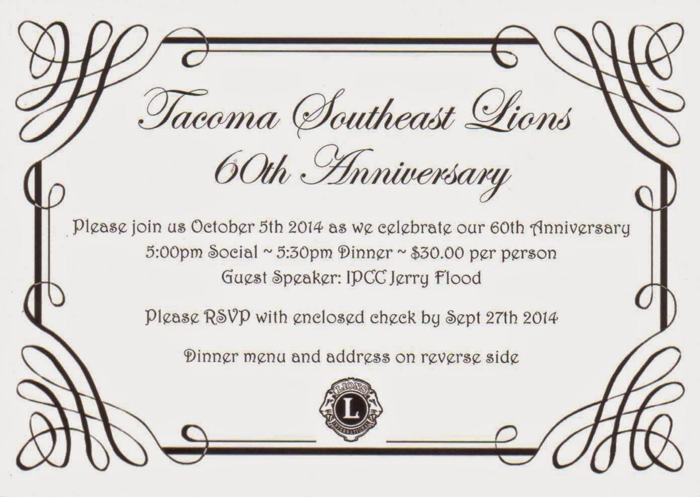 Rainier Lions Club Tacoma Southeast Lions 60th