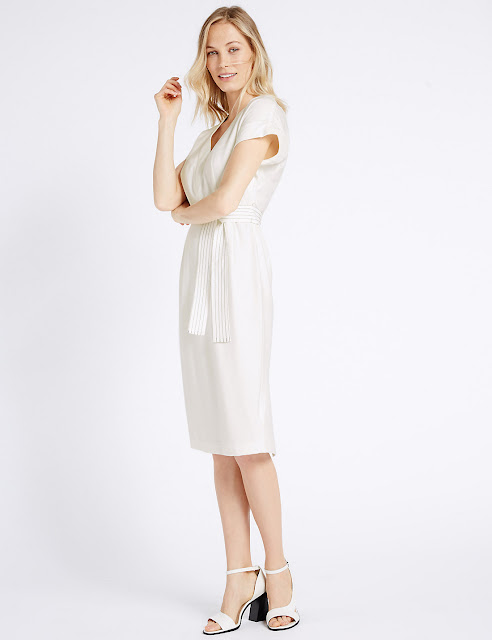marks and spencer white tailored dress