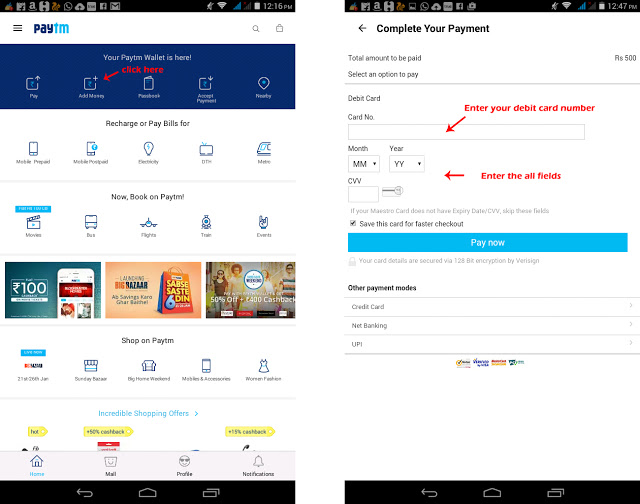 How to create paytm account and add money from bank account