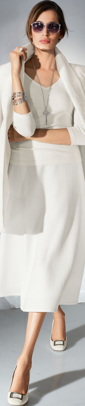 Madeleine Wool White Skirt