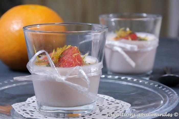 Variations gourmandes panna cotta aux pom los et mascarpone segments de pom los r tis aux - Recette panna cotta mascarpone ...