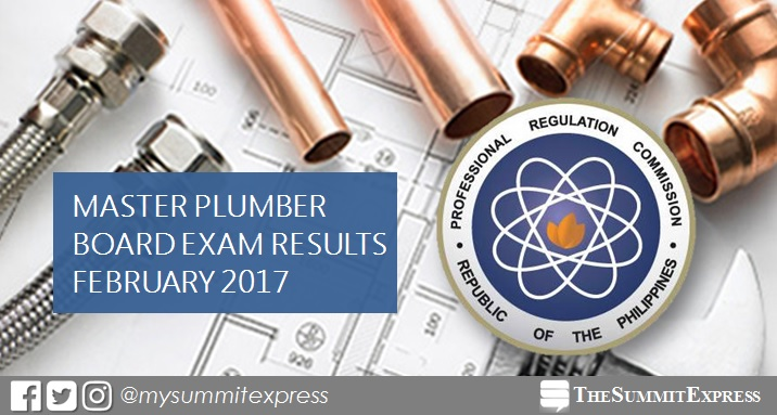 FULL RESULTS out: February 2017 Master Plumber board exam
