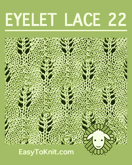#Knit Candle Flames stitch, Easy Eyelet Lace Pattern #easytoknit #knitlace